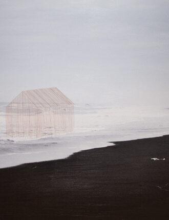 Tamara Ferioli, 63°55′59″N, 2014, capelli su stampa ink-jet su carta matte, cm 90×140