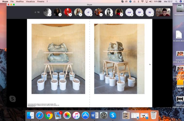 Uno screenshot di una lezione di Lorenzo Madaro (in lato a dx) via skype con gli allievi e, come ospite, l'artista Alessandro Neretti/Nero